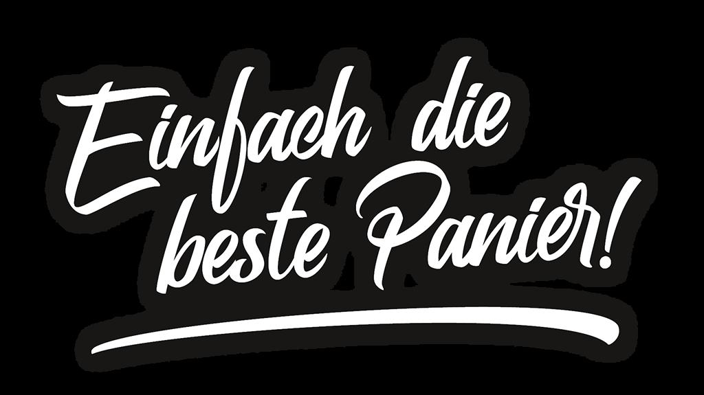 Gasthaus Stossier im Wölfnitz - einfach die beste Panier - Schriftzug in weiss mit Schatten